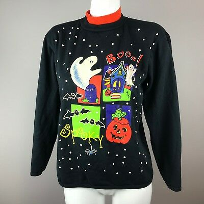 Vtg 90s Halloween Sweater Glow in the Dark Youth Size 14/16 Acrylic Blend