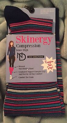 New Skinergy Compression Knee High Socks Fits Shoe Sz 4-10 Stripes Multi Color