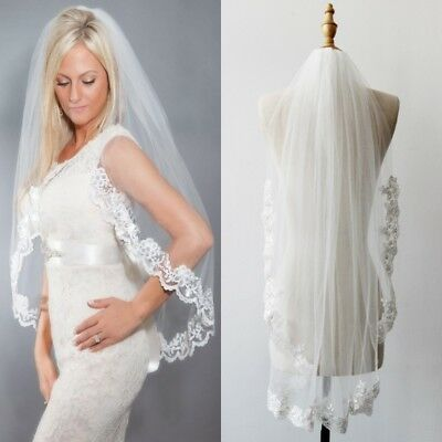 New White/Ivory Wedding Veil Bridal Veils 1T Fingertip Length Lace Applique Edge