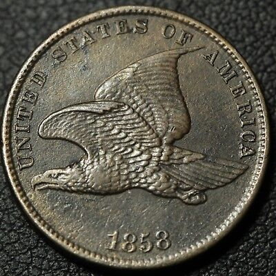 1858 Small Letters Flying Eagle Cent Penny - Environmental Damage