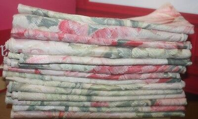 """14 Vintage Cloth NAPKINS Linen Pink White Green Flowers Dinner 16""""x16.5"""" Used"""