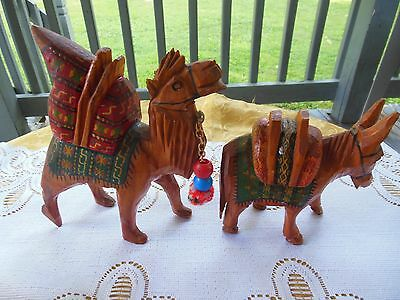 Vtg Hand Carved & Hand Painted Solid Wood Camel & Donkey Souvenirs
