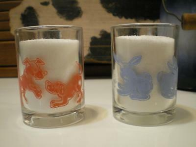 2 VTG Small Miniature Child's Glass Mugs Glasses - Swanky Swig Style Handled Cup