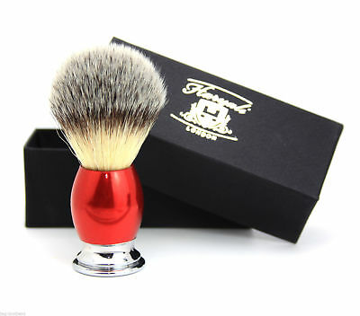 Professional Synthetic Hair Shaving Brush With Silver Tip In Red & Chrome Handle