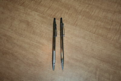Vintage Cross Classic Chrome Pen And Pencil Set Tested Works See Pix!!
