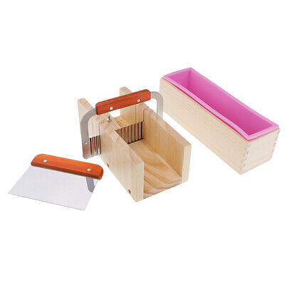 Handmade DIY Wooden Soap Cutter Box Silicone Soap Mold Loaf Cake Cutter Tool