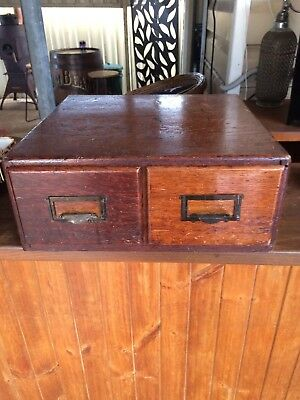 ANTIQUE OAK MEDICINE OR FILING BOX WITH TWO DRAWERS. ESTATE ITEM. 400mm SQUARE.