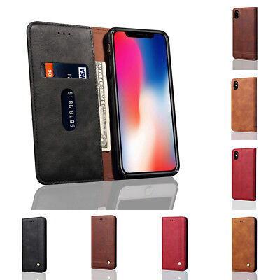 Retro Pu Leather Case Cover For Iphone Xr Xs Max Phone Shockproof Card Holder