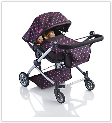 Dolls Double Buggy Babies Stroller Toy Girls Pram Pushchair Kids Christmas Gift