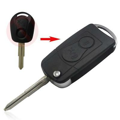 2 Buttons Flip Key Case Shell Fob Car Fit For Ssangyong Actyon Kyron Rexton