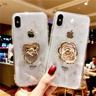 Bling Diamond Crystal Gems Ring Stand Holder Soft Phone Case Cover For iPhone Xs