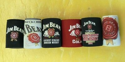 6 X New Jim Beam Stubbie/stubby Holders Different Designs One Lot***free Post