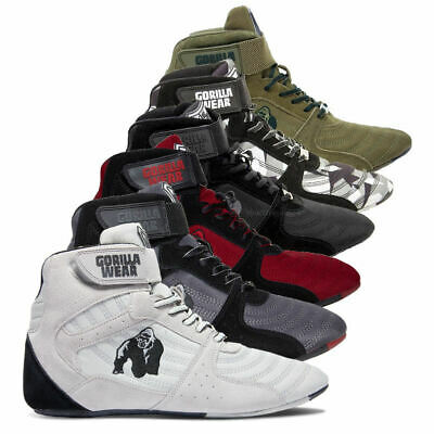 f48c9b6e3c28 BODYBUILDING SHOES GORILLA Wear High Tops Weight Lifting Black or ...