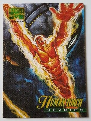 """Marvel Masterpieces Canvas Karte """" Human Torch """" Marvel Trading Cards"""
