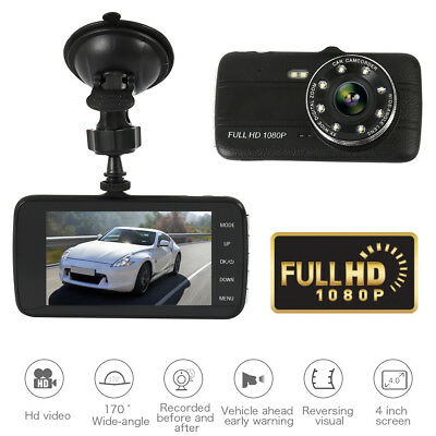4Dual Lens Car Camera DVR Video Dash Cam Audio Recorder 1080P IR Parking Monitor