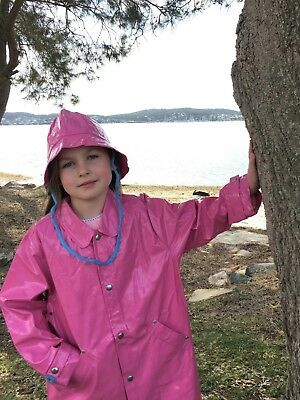 Children's Waterproof Candy Pink Raincoat, Hat, Blue Cotton Tape Snap Buttons
