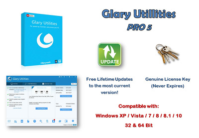 Glary Utilities Pro 5 LIFETIME  LICENCE  3 PC's PER LICENCE KEY FREE UPDATES