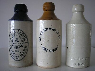 GINGER BEER BOTLES x 3 from S/Aust