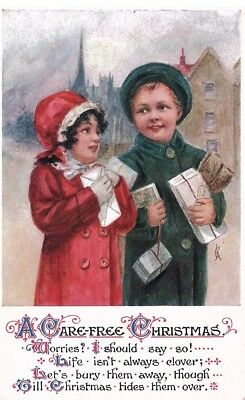 Early Christmas Postcard with Children, Inter-Art Co. London Unused, c.1910s