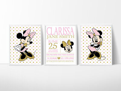 Minnie Mouse Nursery Decor Wall Print, personalised birth Record 2 size choices