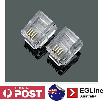 RJ11 Gold-plated 6P4C Modular Plug Telephone ADSL Connectors 10 - 100Pcs