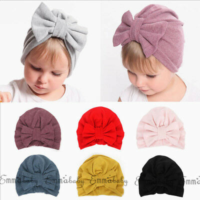 Baby Infant Girl Floral Comfy Bowknot Turban Hospital Cap 100%Cotton Beanie Hat