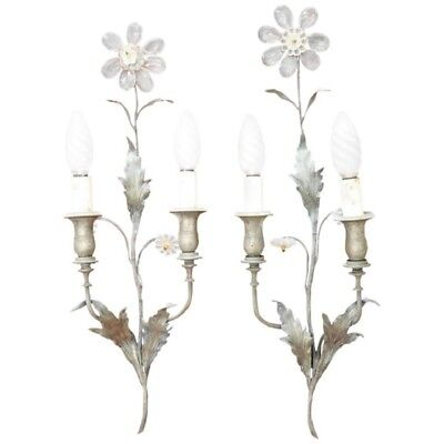 20th Century Italian Bronze and Crystals Swarovski Pair of Wall Light or Sconces