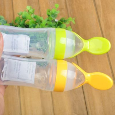 US Baby Silicone Squeeze Feeding Bottle With Spoon Kid Food Rice Cereal Feeder