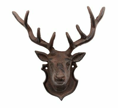 Cast Iron Stag Reindeer Head With Antlers Wall Mounted Home Decore Sculpture NEW