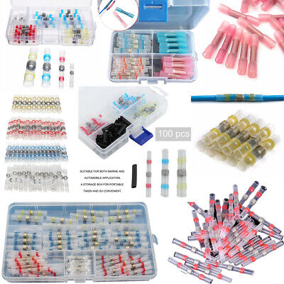 100pcs Solder Sleeve Heat Shrink Insulated Butt Wire Splice Connector Terminals