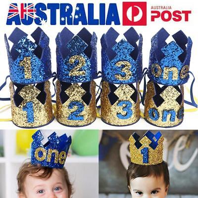 AU Kids Baby Boys 1st 2nd 3rd Birthday Party Crown Prince Hat Photography Props