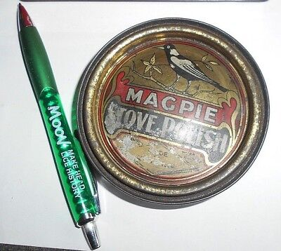 old polish tin - MAGPIE Brand, hole in base some wear on lid c1920 Australian