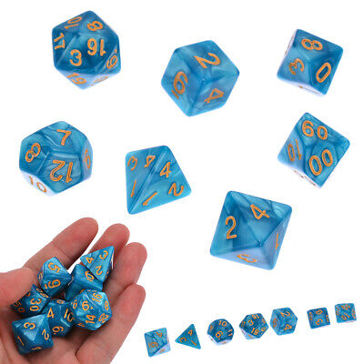 7PCS/set Polyhedral D4-D20 Dice For Dungeons and Dragons DND RPG Game Blue