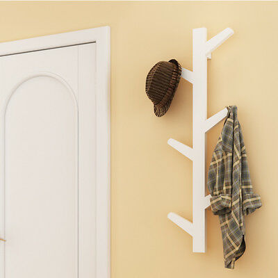 White Creative Tree Style Wall Mounted Hanger Coat Hat Rack Hook Solid Xmas Gift
