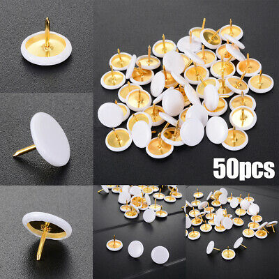 50Pcs Drawing Pins White Thumb Tacks Push Brass Assorted Colours Board Cork