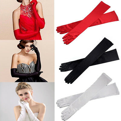 Women Long Stretched Satin Dress Gloves Bridal Wedding Evening Party Mittens