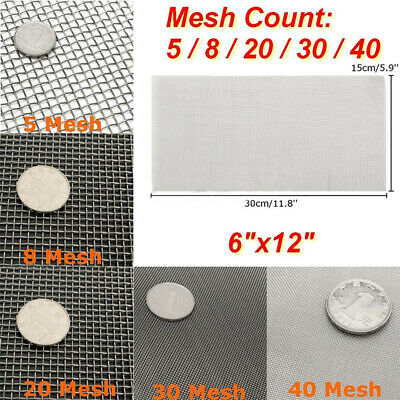 5/8/20/30/40 Mesh 304 Stainless Steel Woven Wire Filter Sheet Screen 15x30cm
