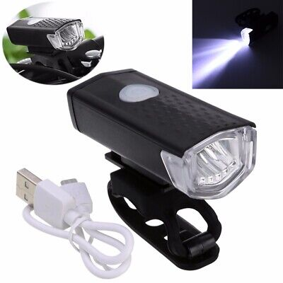Rechargeable Cycle Bicycle Bike Head Front Light Rear Tail LED Lamp Set USB Kit