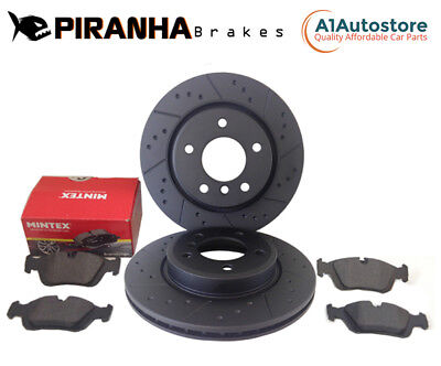 BMW F10 ActiveHybrid 5 11-17 Rear Brake Discs & Pads Black Dimpled Grooved