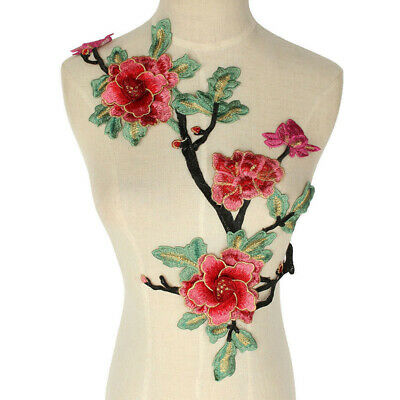 Embroidery Rose Flower Sew On Patch Dress Cloth Sticker Applique Large Decor DIY