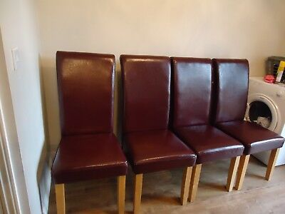 Burgundy Leather Milan Dining Chairs X 4 Used 45 00