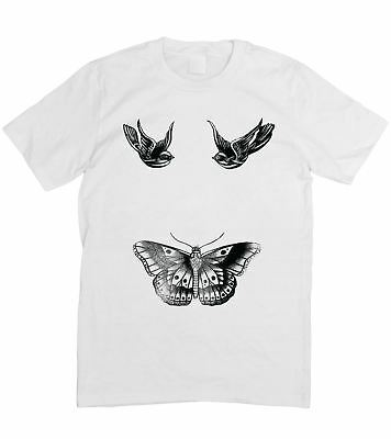 Harry Tattoo Styles Design Sparrow Butterfly Mens Ladies Unisex T-Shirt S - 5XL
