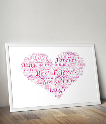 Personalised Heart Word Art Print - Personalised Best Friend, Thank You Gift
