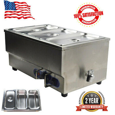 """Kitchen Supply 3 Pan Bain Marie Food Warmer 110V, 1.5kW 6"""" Pan Stainless Steel"""