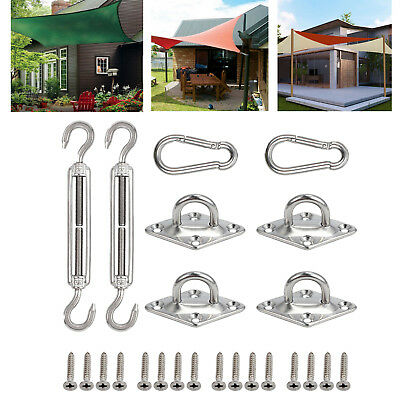 8 Pcs Stainless Steel Sun Shade Sail Hardware Kit Accessory + 16X Mounting Screw
