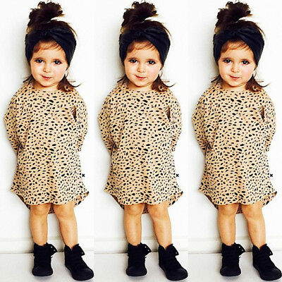 Toddler Kid Baby Girl Leopard Print Long Sleeve Top T-Shirt Party O-Neck Dress