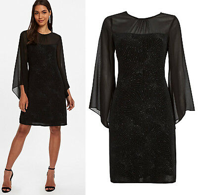 Wallis New Womens Sparkle Shift Dress in Black Sizes 8 to 18