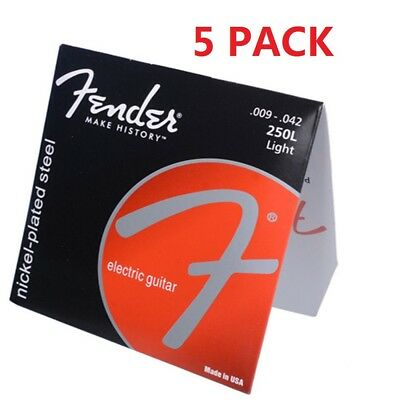 5 Pack Electric Guitar Strings Fender 250L Light Nickel-Plated Steel 009-042 CN