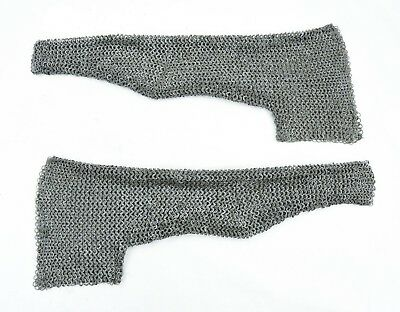 Chainmail Sleeve and Shoulder Panels - Alternating Dome Riveted Mild Steel Flat
