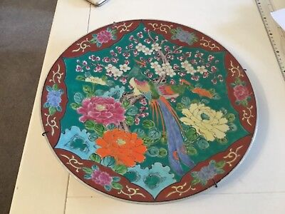 Oriental Decorative Hand painted birds wall hanging Plate. Made in Japan. 35cm